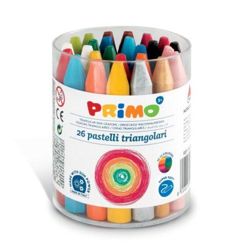 Voskové pastelky trojboké PRIMO SUPERSOFT, 85mm, 26ks, PP etue