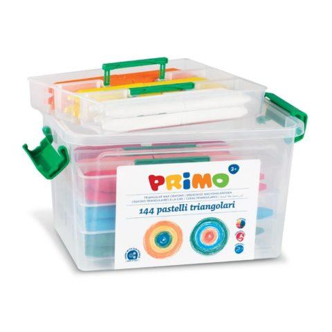 Voskové pastelky trojboké PRIMO SUPERSOFT, 85mm, 144ks, PP box