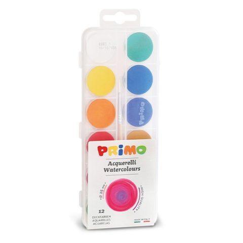 Vodové barvy PRIMO ECONOMY, 12 barev + štětec