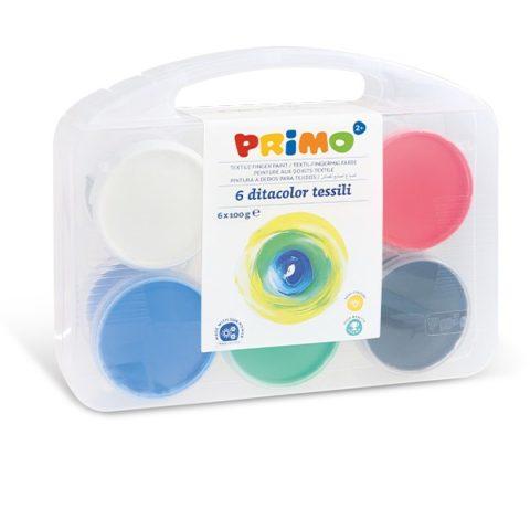 Prstové barvy na textil PRIMO, sada 6 x 100g, kelímky, PP box