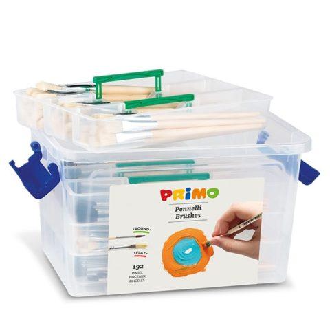 Sada štětců PRIMO, 192ks (16x kulaté č.1,2,4,6,8,10 a ploché č.2,4,6,8,10,12 ), PP box