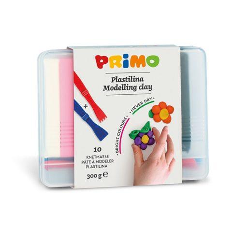 Plastelína PRIMO, sada 10 x 30g, mix barev + pomůcky, PP box