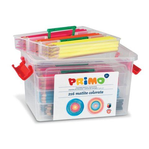 Pastelky šestihranné PRIMO, tuha Ø 2,9mm, 216ks (18 x 12 barev), PP box