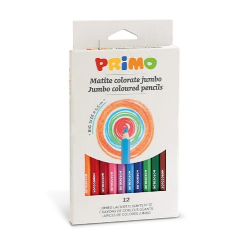 Pastelky šestihranné PRIMO JUMBO, tuha Ø 5,5mm, 12ks, papírový obal