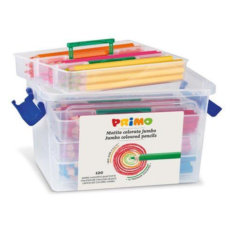 Pastelky šestihranné PRIMO JUMBO, tuha Ø 5,5mm, 120ks (10 x 12 barev), PP box