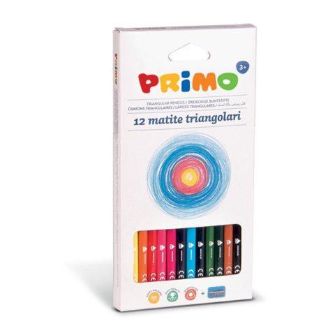 Pastelky trojboké PRIMO, tuha Ø 3mm, 12ks + ořezávátko, papírový obal