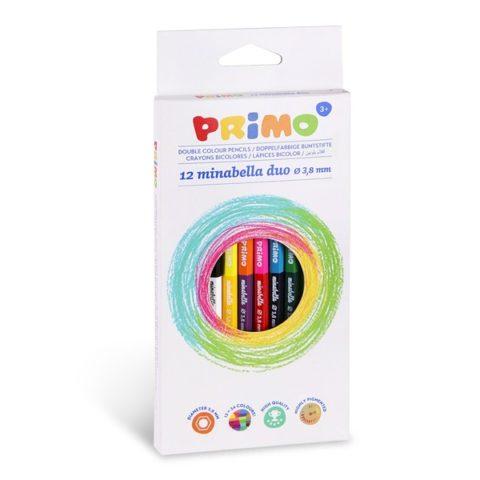 Pastelky šestihranné PRIMO MINABELLA DUO, tuha Ø 3,8mm, 12ks, papírový obal