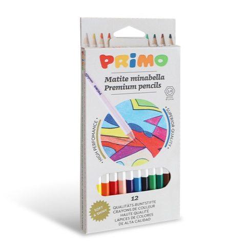 Pastelky šestihranné PRIMO MINABELLA, tuha Ø 3,8mm, 12ks, papírový obal