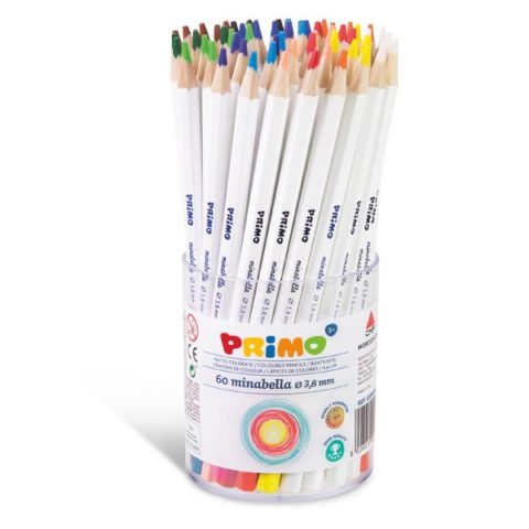Pastelky šestihranné PRIMO MINABELLA, tuha Ø 3,8mm, 60ks (5 x 12 barev), PP etue