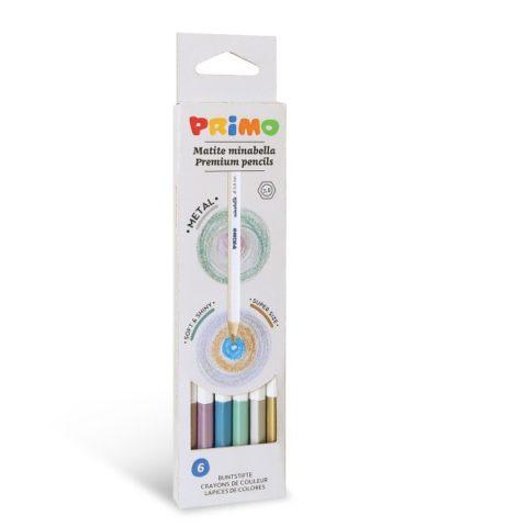 Pastelky šestihranné PRIMO MINABELLA METAL, tuha Ø 3,8mm, 6ks, papírový obal