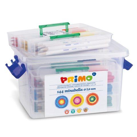 Pastelky šestihranné PRIMO MINABELLA, tuha Ø 3,8mm, 144 ks (12 x 12 barev), PP box
