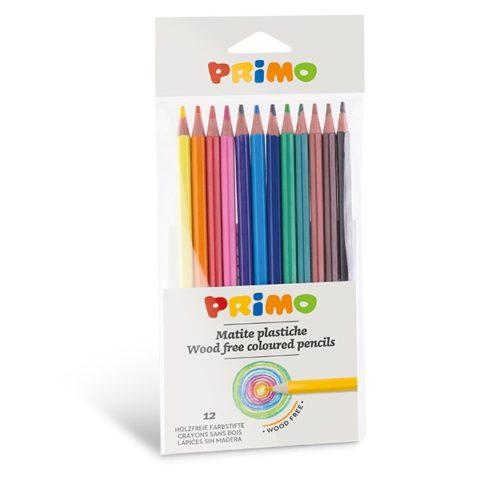 Pastelky plastové, šestihranné PRIMO, tuha Ø 2,9mm, 12ks, plastový obal