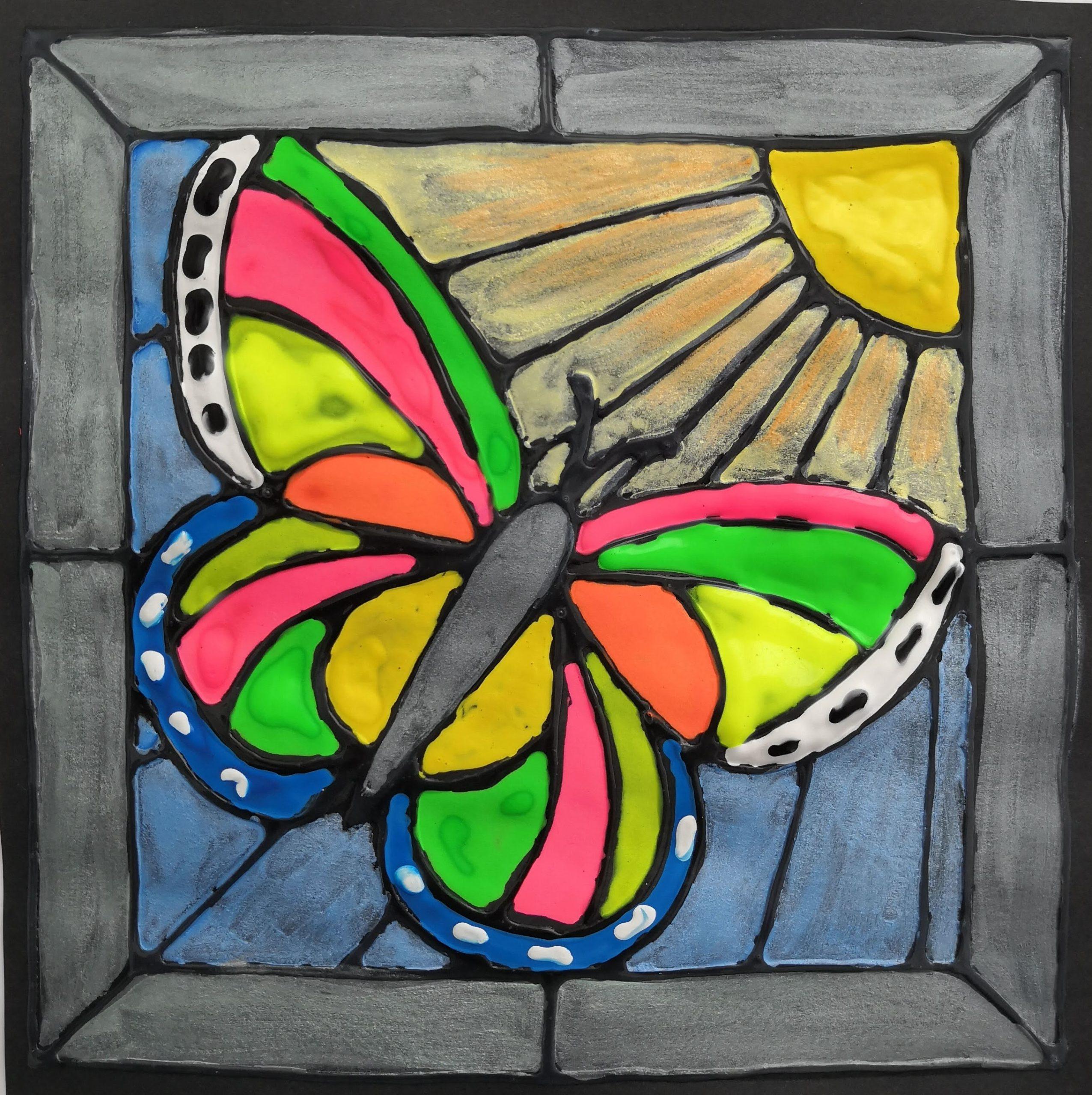 Vitrážová malba – motýl