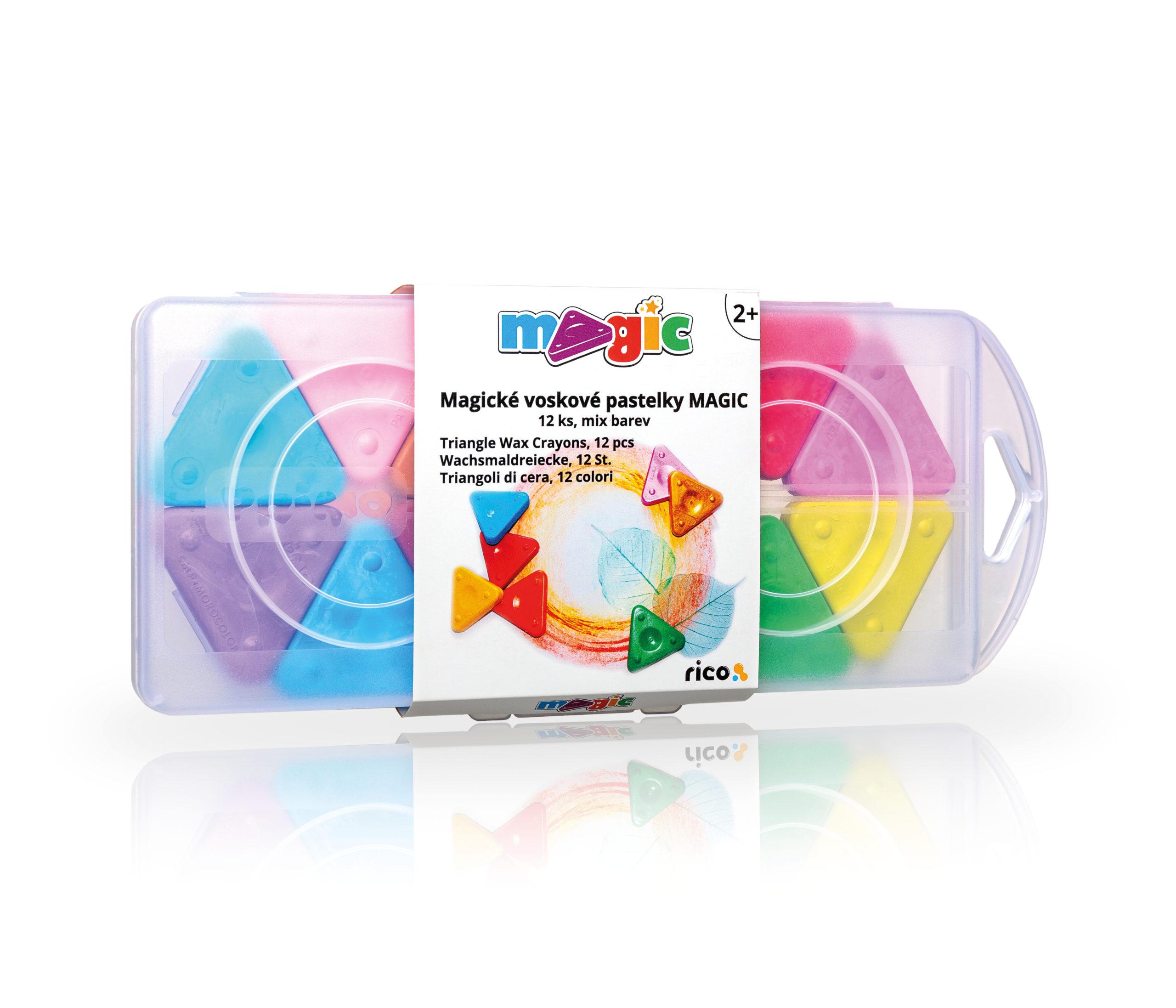 Voskovky trojboké MAGIC PRIMO, sada 12ks, mix barev, PP box